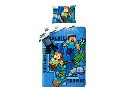 HALANTEX Povlečení Minecraft blue Bavlna, 140/200, 70/90 cm