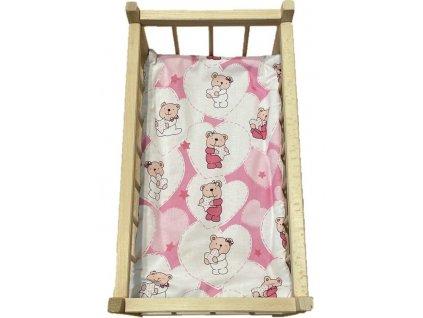 SDS Matrace do postýlky pro panenky Medvídek srdíčka růžová Bavlna, výplň: Polyester, 50/28 cm