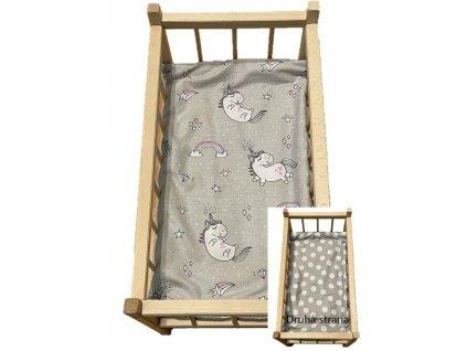 SDS Matrace do postýlky pro panenky Jednorožec šedá/Puntíky šedá Bavlna, výplň: Polyester, 50/28 cm