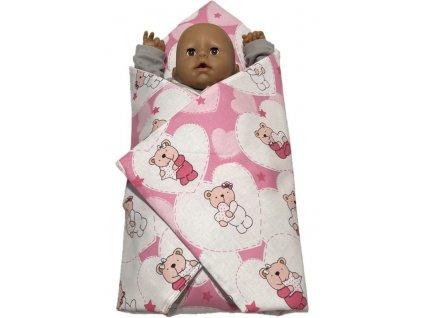 SDS Rychlozavinovačka pro panenky Medvídek srdíčka růžová Bavlna, výplň: Polyester, 1x 60x60 cm