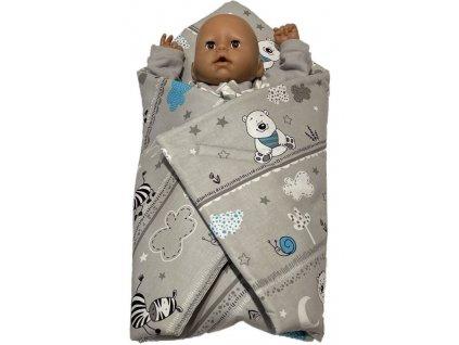 SDS Rychlozavinovačka pro panenky Zvířátka modrá Bavlna, výplň: Polyester, 1x 60x60 cm