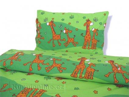 Dětské ložní povlečení Žirafa zelená D43  140/200