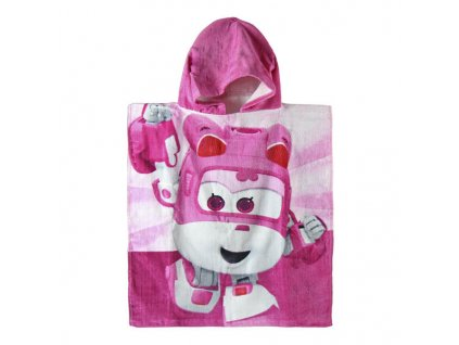 Pončo Super Wings pink 50/115