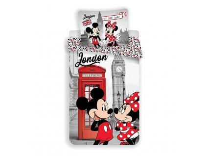 JERRY FABRICS Povlečení Mickey a Minnie Londýn Telephone Bavlna, 140/200, 70/90 cm