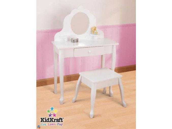 KidKraft Toaletní stoleček se stoličkou bílý 13009