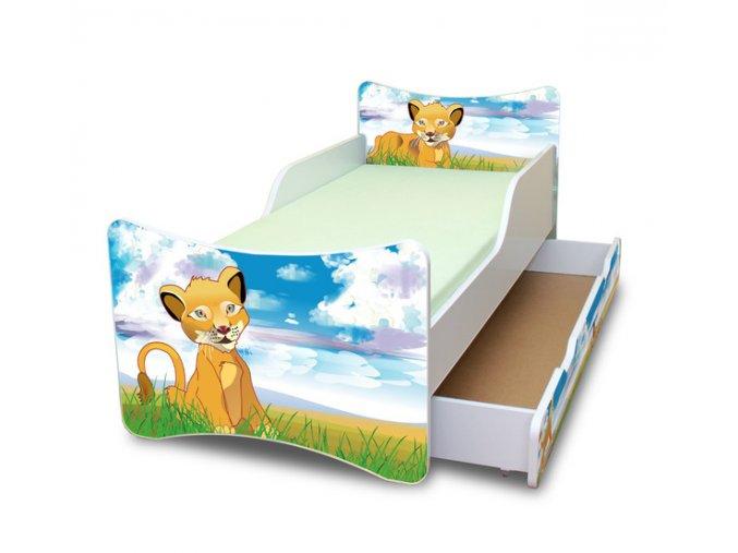 Dětská postel se zábranou a šuplík/y Lvíček