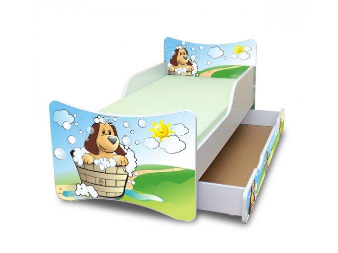 Dětská postel se zábranou a šuplík/y HAFÍK