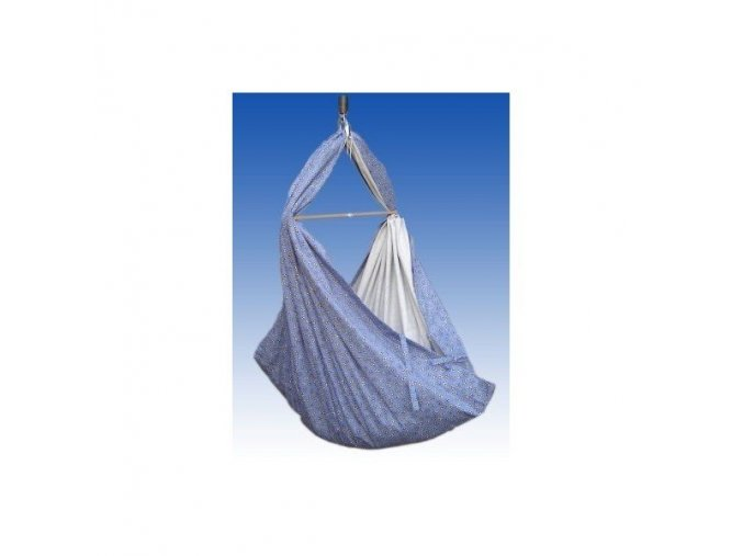 Hacka Klasik - Závěsná textilní kolébka - modré kopretinky