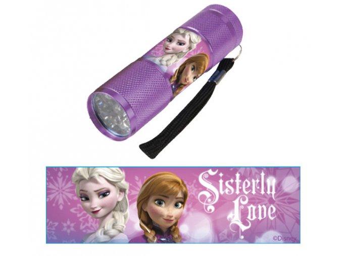 Dětská hliníková LED baterka Ledové Království LILA