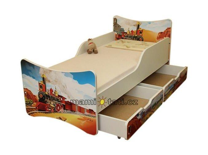 Dětská postel se zábranou a šuplík/y Vlak