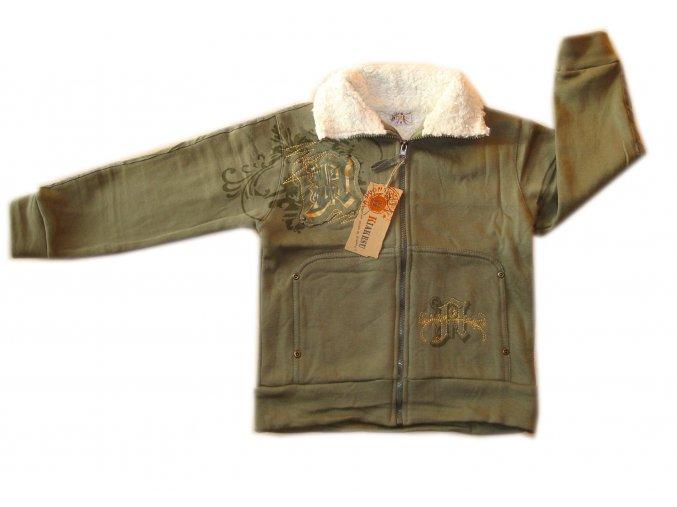 Teplá mikina s kožíškovým límcem -khaki