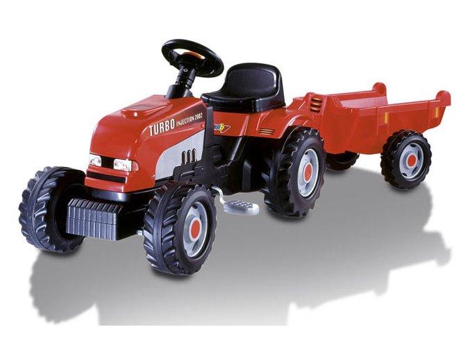 Šlapací traktor s vlekem červený Smoby 33335