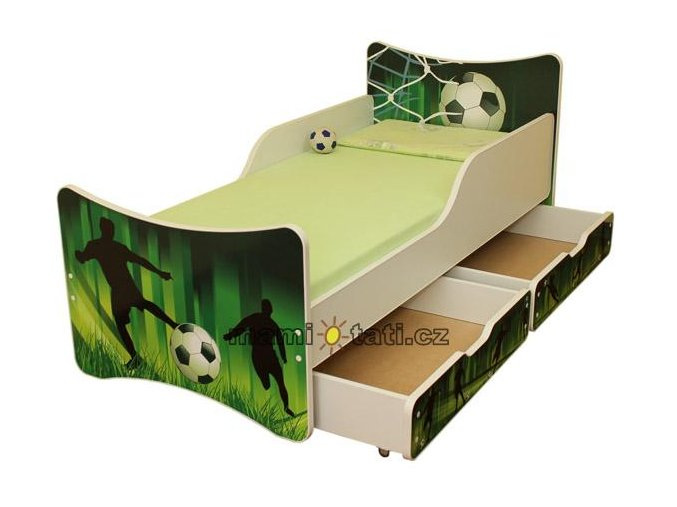 Dětská postel se zábranou a šuplík/y Fotbal