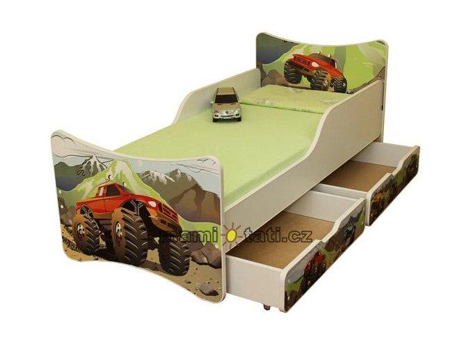 Dětská postel se zábranou a šuplík/y Auto