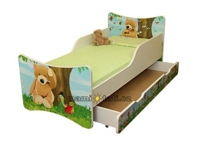Dětská postel se zábranou a šuplík/y Medvídek