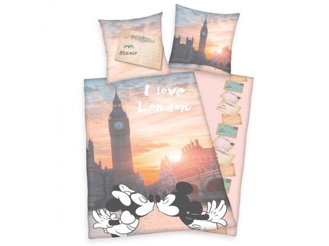 Povlečení Mickey a Minnie Londýn pohlednice 140/200 SKLADEM