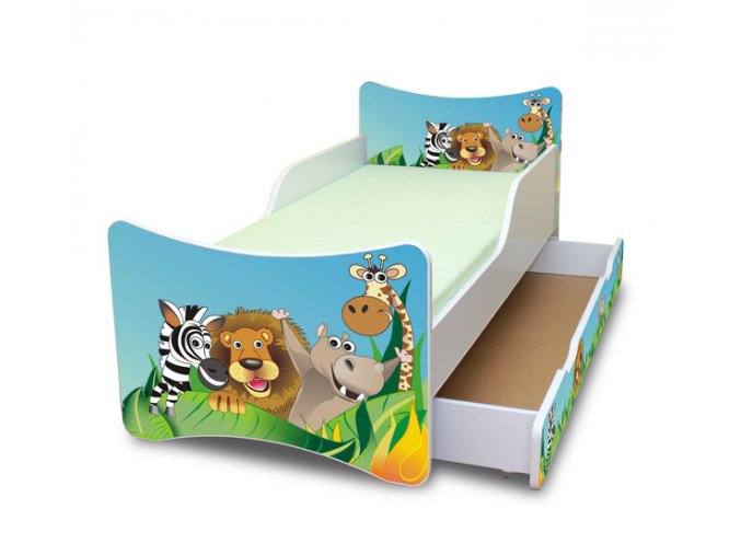 Dětská postel se zábranou a šuplík/y ZOO