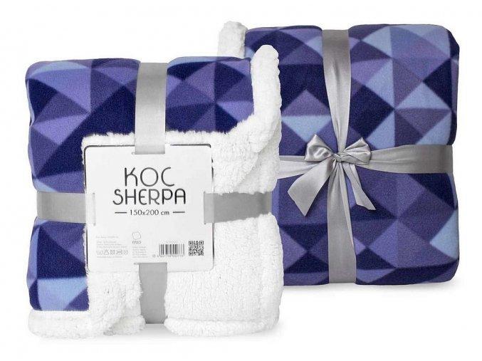 FARO Fleece deka s beránkem modrá  Polyester, 150/200 cm