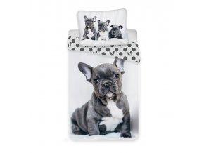 JERRY FABRICS Povlečení Bulldog Bavlna, 140/200, 70/90 cm