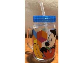 Plastový hrnek s víčkem a brčkem Mickey modrá 400 ml