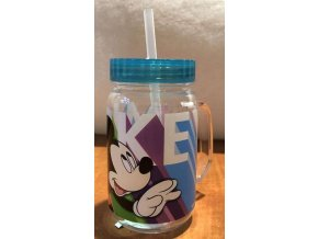 Plastový hrnek s víčkem a brčkem Mickey zelená 400 ml