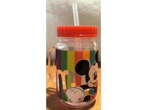Plastový hrnek s víčkem a brčkem Mickey červená 400 ml