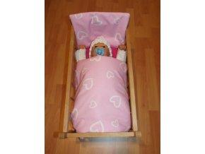 Peřinky do postýlky pro panenky Srdíčka velká růžová - skladem
