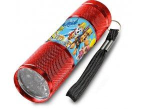 Dětská hliníková LED baterka Paw Patrol červená