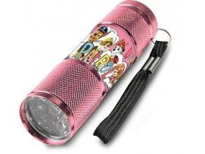 Dětská hliníková LED baterka Paw Patrol růžová