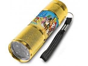 Dětská hliníková LED baterka Paw Patrol žlutá