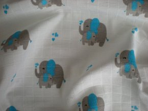 Látková plena s potiskem Slon modrý 70/70