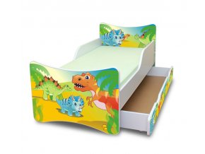 Dětská postel se zábranou a šuplík/y Dino
