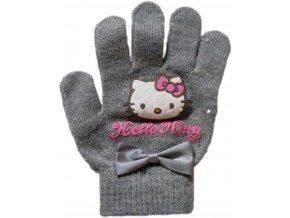 Pletené rukavice Hello Kitty šedé 22951