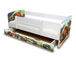 Dětská postel se zábranou a zásuvkou AUTO