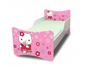 Dětská postel se zábranou Kočička s kytičkou