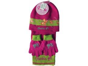 Zimní set Barbie pletená čepice+šála+rukavice 14242