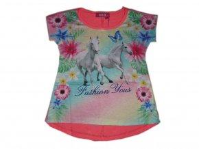 Dívčí triko s koněm krátký rukáv 550001 červená