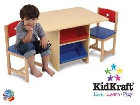 KidKraft Dětský stůl s židlemi a úložnými boxy STAR