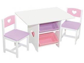 KidKraft Dětský stůl s židlemi a úložnými boxy HEART