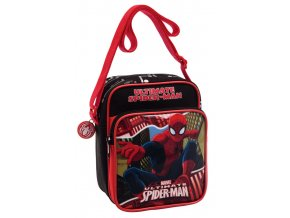 Taška přes rameno s kapsou Spiderman Red City19 cm
