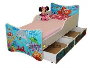 Dětská postel se zábranou a šuplík/y Oceán