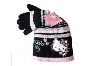Set Čepice a rukavice Hello Kitty černá 4008
