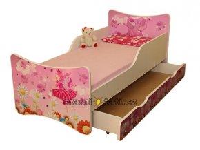 Dětská postel se zábranou a šuplík/y Víla