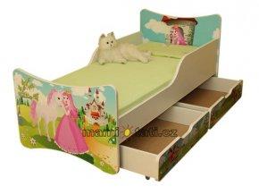 Dětská postel se zábranou a šuplík/y Princezna