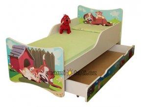 Dětská postel se zábranou a šuplík/y Pejsek a kočička