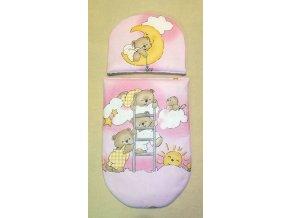 Peřinky do kočárku pro panenky Medvídci na žebříku růžová