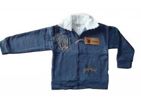 Teplá mikina s kožíškovým límcem-tmavě modrá