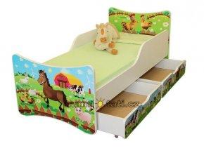 Dětská postel se zábranou a šuplík/y Farma