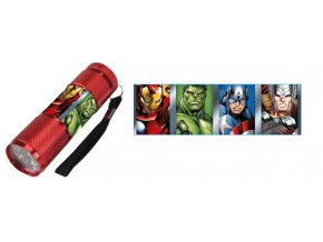 Dětská hliníková LED baterka Avengers červená