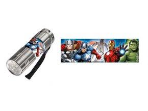 Dětská hliníková LED baterka Avengers stříbrná
